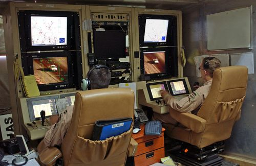 Predator drone operators at Balad Air Force Base in Iraq, 2007