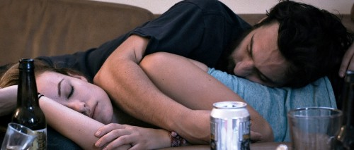 Olivia Wilde and Jake Johnson get all twisted up in 'Drinking Buddies'.
