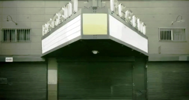 One of the many stills of closed movie theater facades that Paul Schrader scatters throughout 'The Canyons'.