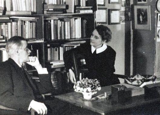James Joyce and Sylvia Beach at Shakespeare and Company, 1920