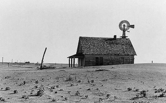 Dust Bowl farm, June 1938, by Dorothea Lange (Library of Congress)