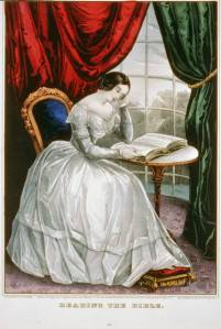"""Reading the Bible,"" Currier & Ives (Library of Congress)"