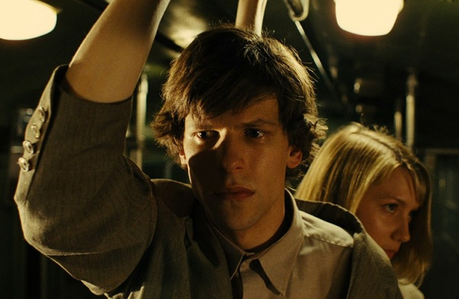 Jesse Eisenberg and Mia Wasikowska in 'The Double' (image courtesy of Magnolia Pictures)