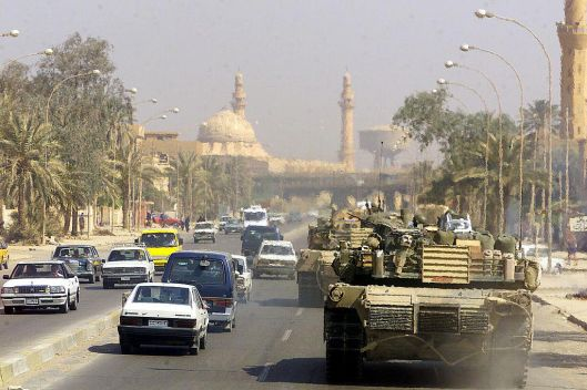 American tanks patrol Baghdad on April 14th, 2003 (U.S. Marine Corps)