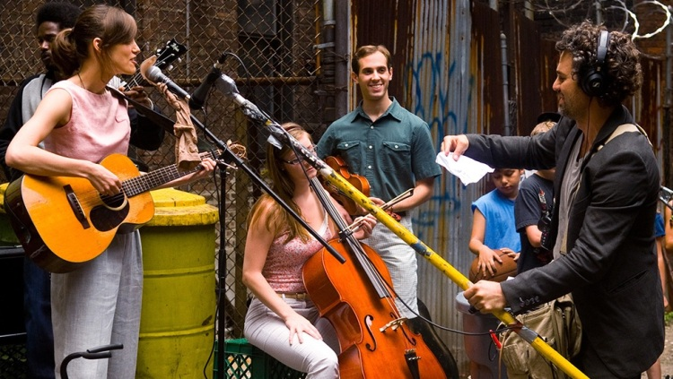 Keira Knightley (left), Mark Ruffalo (right), and a passel of ready-for-anything musicians in 'Begin Again' (Weinstein Company)