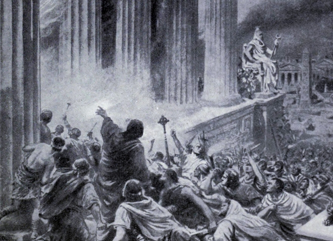 'The Burning of the Library at Alexandria in 391 AD' by Ambrose Dudley, c.1910 (The Stapleton Collection)