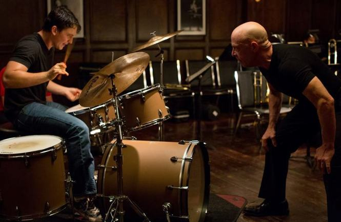 Miles Teller drums and J.K. Simmons berates in 'Whiplash' (Sony Pictures Classics""