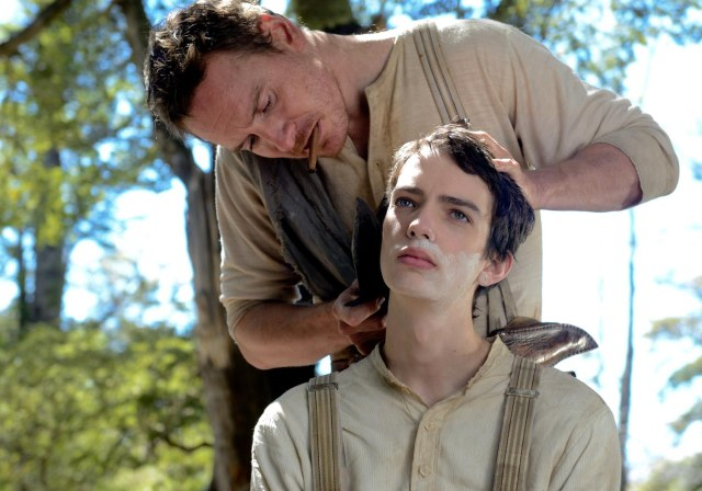 Michael Fassbender and Kodi Smit-McPhee in 'Slow West' (A24)
