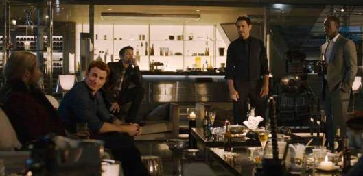 The Avengers, in a moment of friendly contemplation, sans outfits (Marvel Studios)
