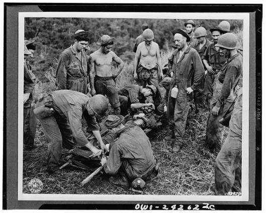 A casualty is ready for transport from the front line during the battle for Guadalcanal. (Library of Congress)
