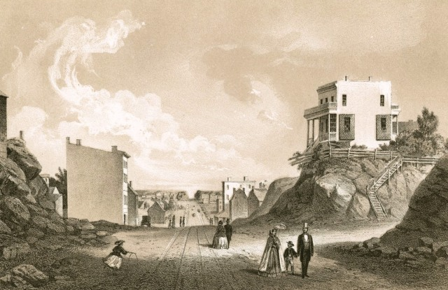 Before the grid: How 2nd Avenue and 42nd Street looked in 1861. (New York Public Library)