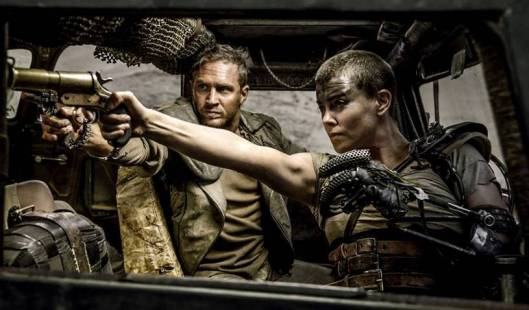 Tom Hardy and a one-armed Charlize Theron in 'Mad Max: Fury Road'