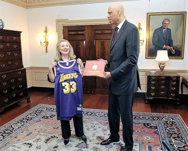 Hillary Clinton (State Department) with Kareem Abdul-Jabbar (NBA) in 2012